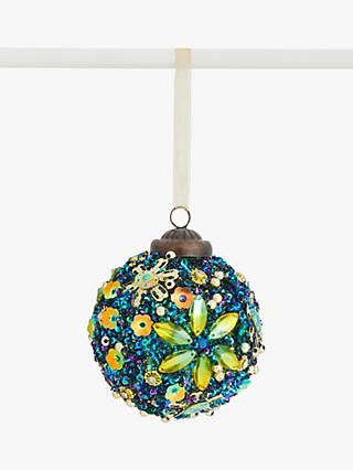 John Lewis & Partners Post Impressionism Gem and Sequin Flower Bauble, Multi