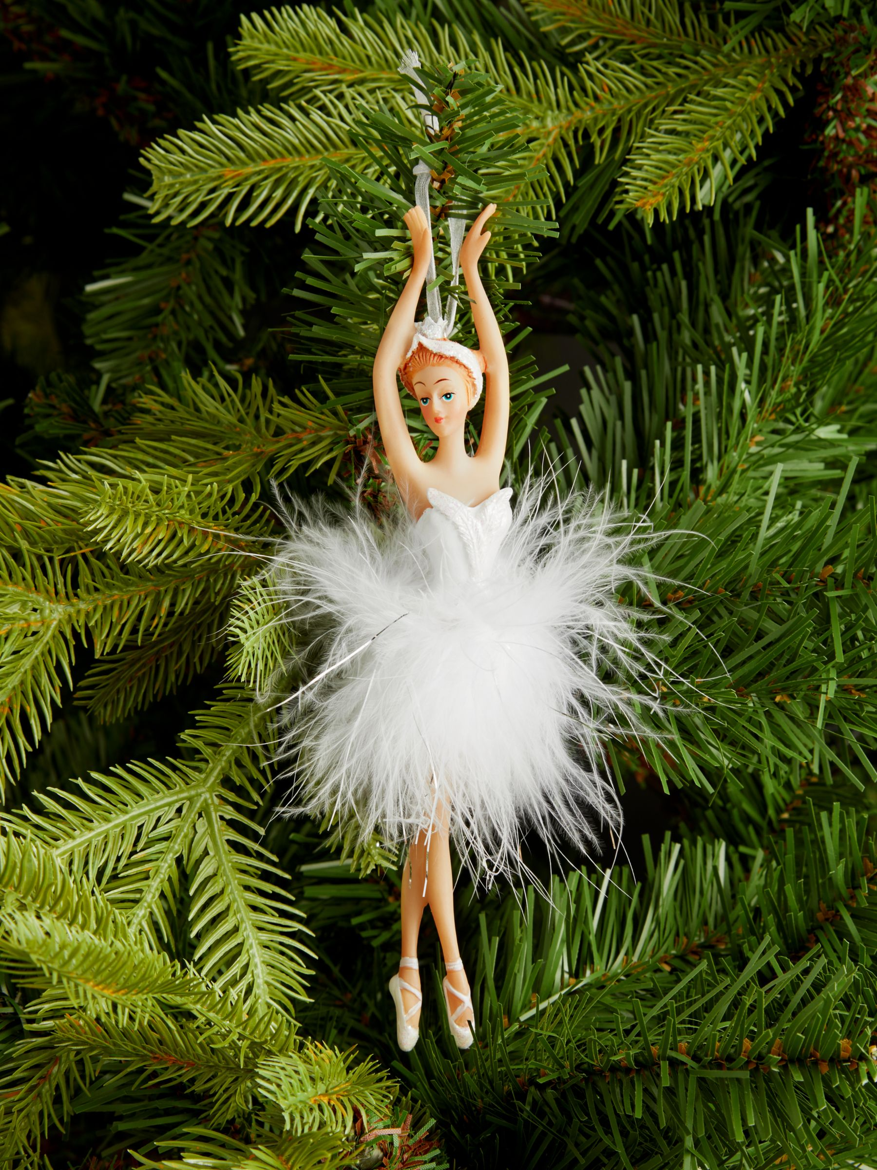 John Lewis & Partners Impressionism Ballerina in Feather Tutu Tree Decoration, White