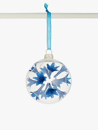 John Lewis & Partners Art Nouveau Sputnik Bauble, Clear / Blue