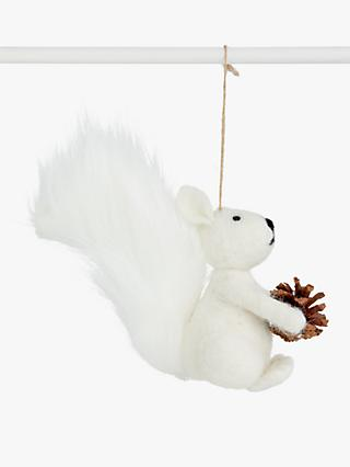 John Lewis & Partners Impressionism Squirrel and Pine Cone Tree Decoration, White