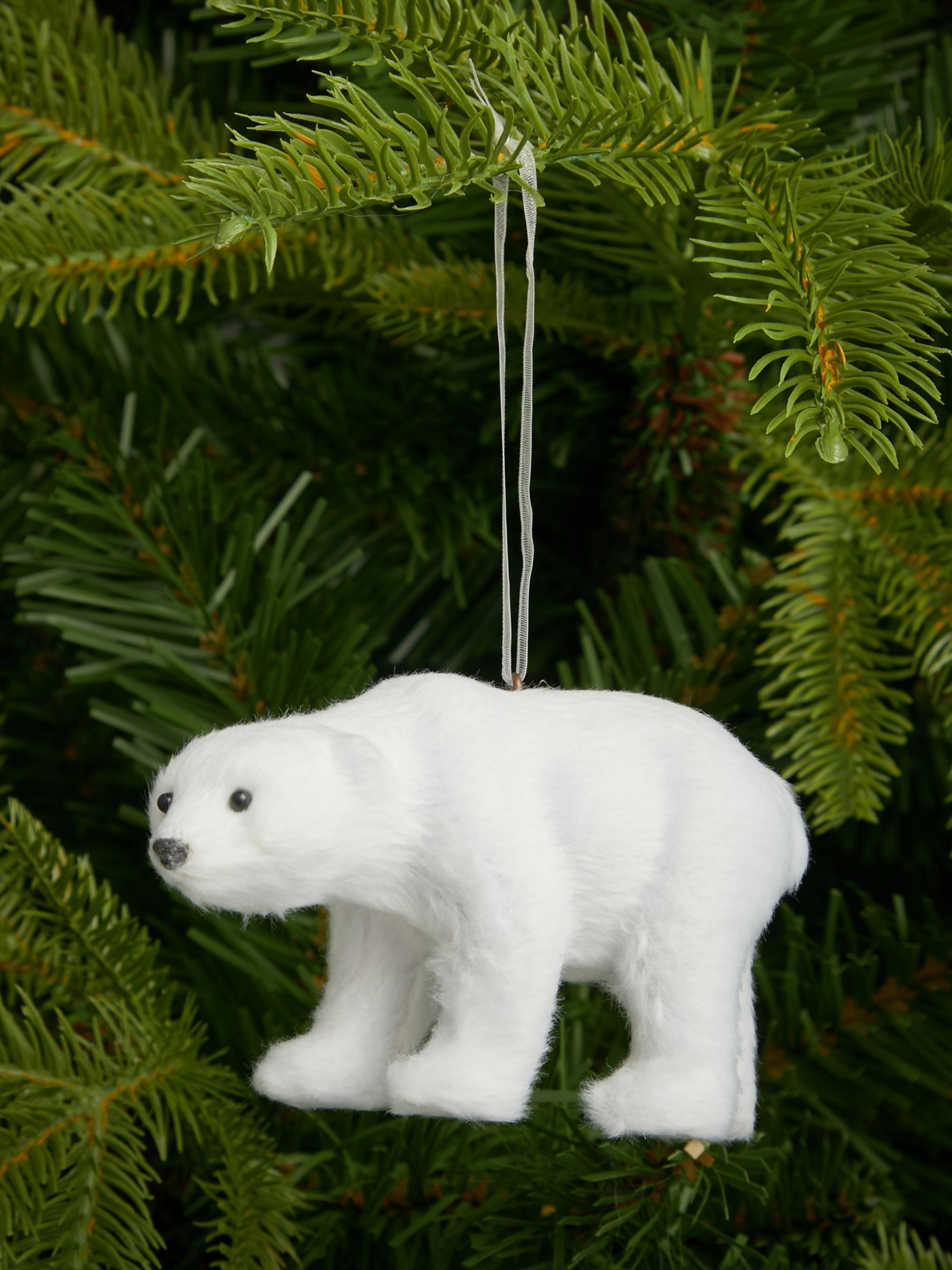 John Lewis & Partners Impressionism Polar Bear Tree Decoration, White