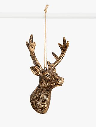 John Lewis & Partners Bloomsbury Stag Head Tree Decoration, Metallic
