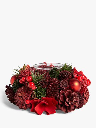 John Lewis & Partners Bloomsbury Berry and Pine Cone Candle Holder