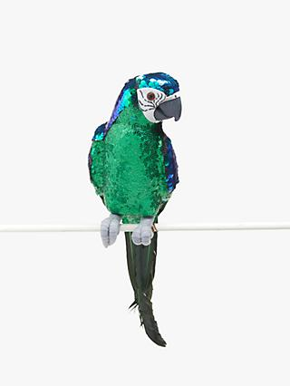John Lewis & Partners Post Impressionism Colour Changing Sequin Parrot, Green / Blue