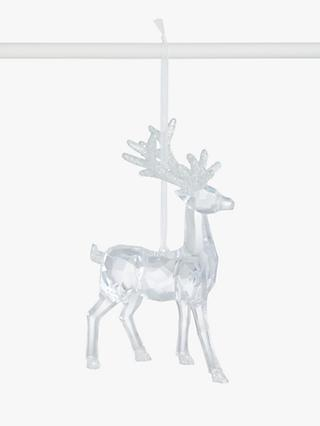 John Lewis & Partners Impressionism Acrylic Reindeer Tree Decoration, Clear