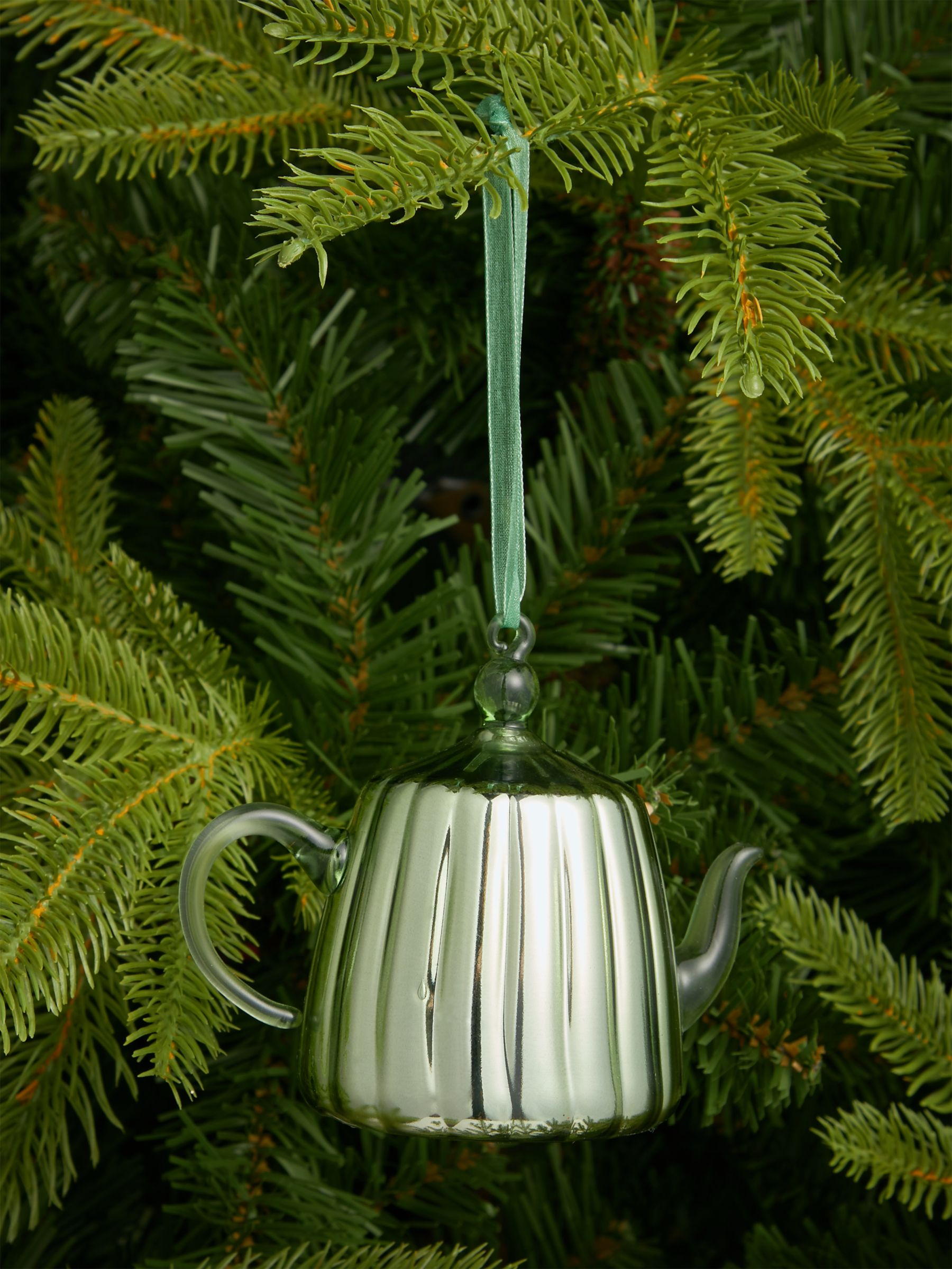 John Lewis & Partners Art of Japan Teapot Bauble, Green