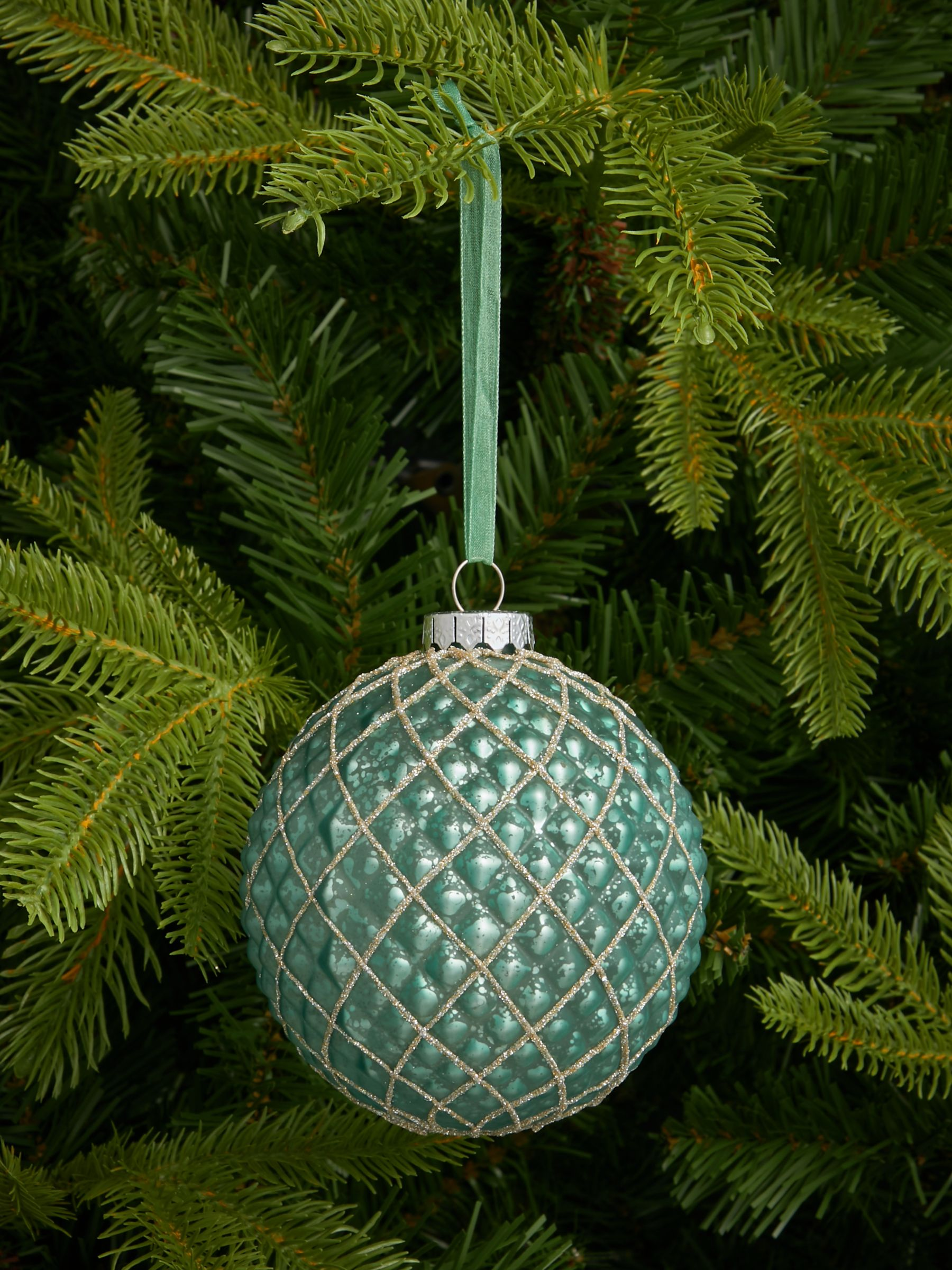 John Lewis & Partners Renaissance Quilted Glitter Bauble, Teal