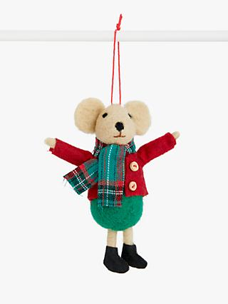 John Lewis & Partners Bloomsbury Tartan Mouse Tree Decoration, Multi