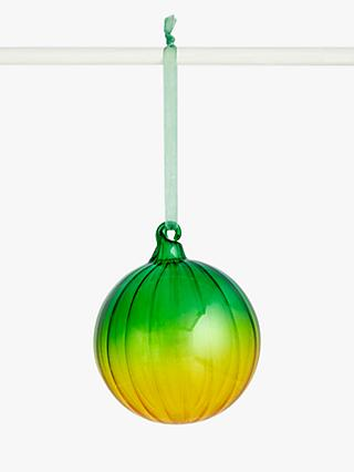 John Lewis & Partners Post Impressionism Ombre Bauble, Green / Yellow