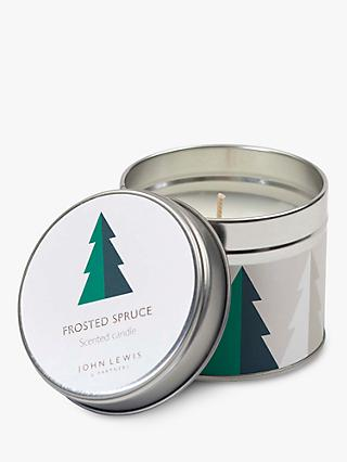 John Lewis & Partners Frosted Spruce Tin Scented Candle, 209g