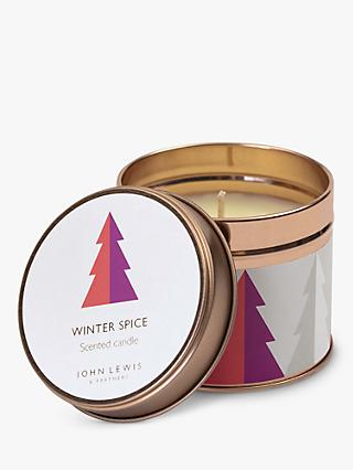 John Lewis & Partners Winter Spice Tin Scented Candle, 209g