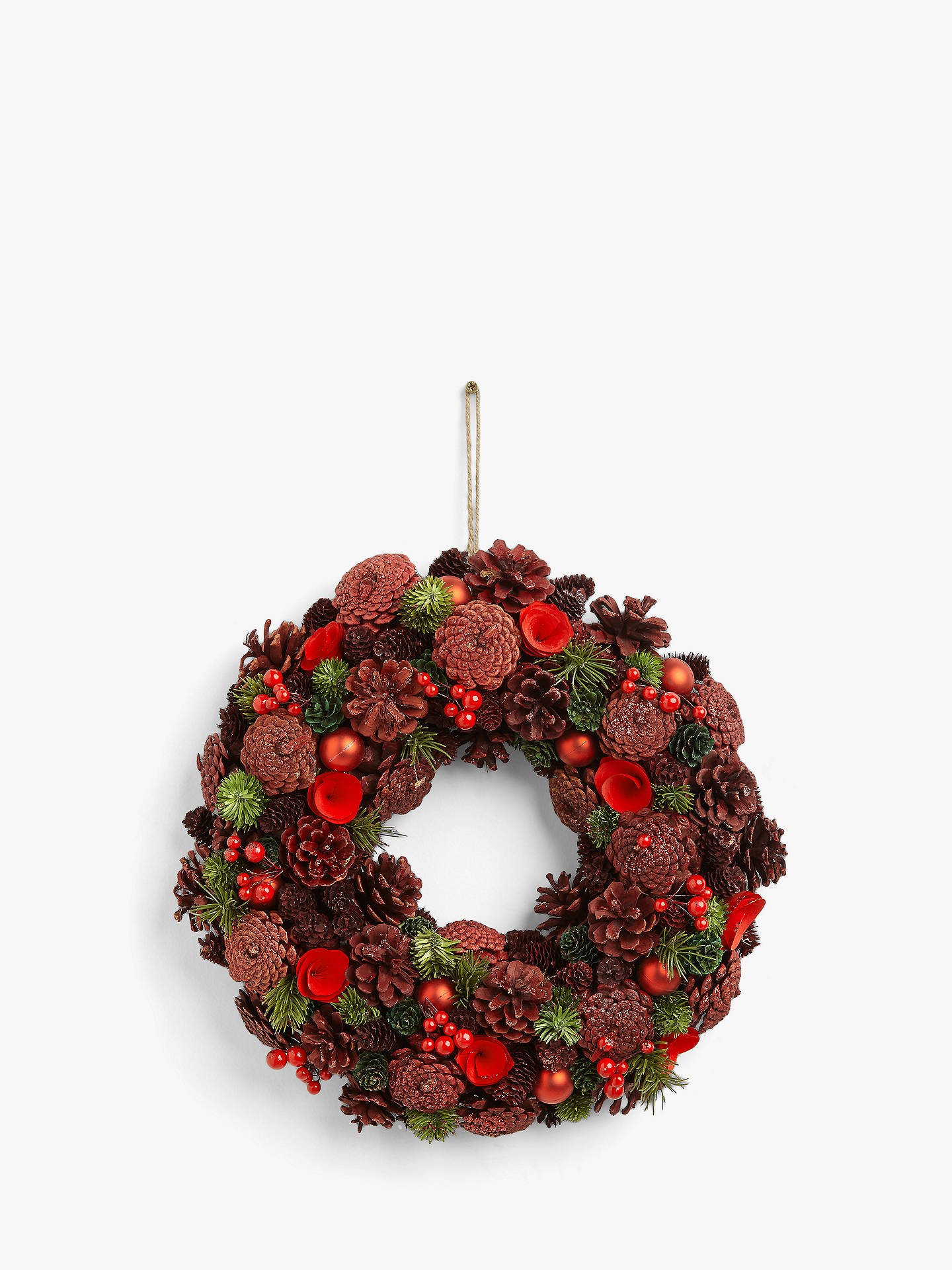 Buy John Lewis & Partners Art of Japan Red Glitter Pine Cone Wreath Online at johnlewis.com