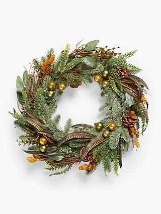 John Lewis & Partners Bloomsbury Faux Pheasant Feather Wreath