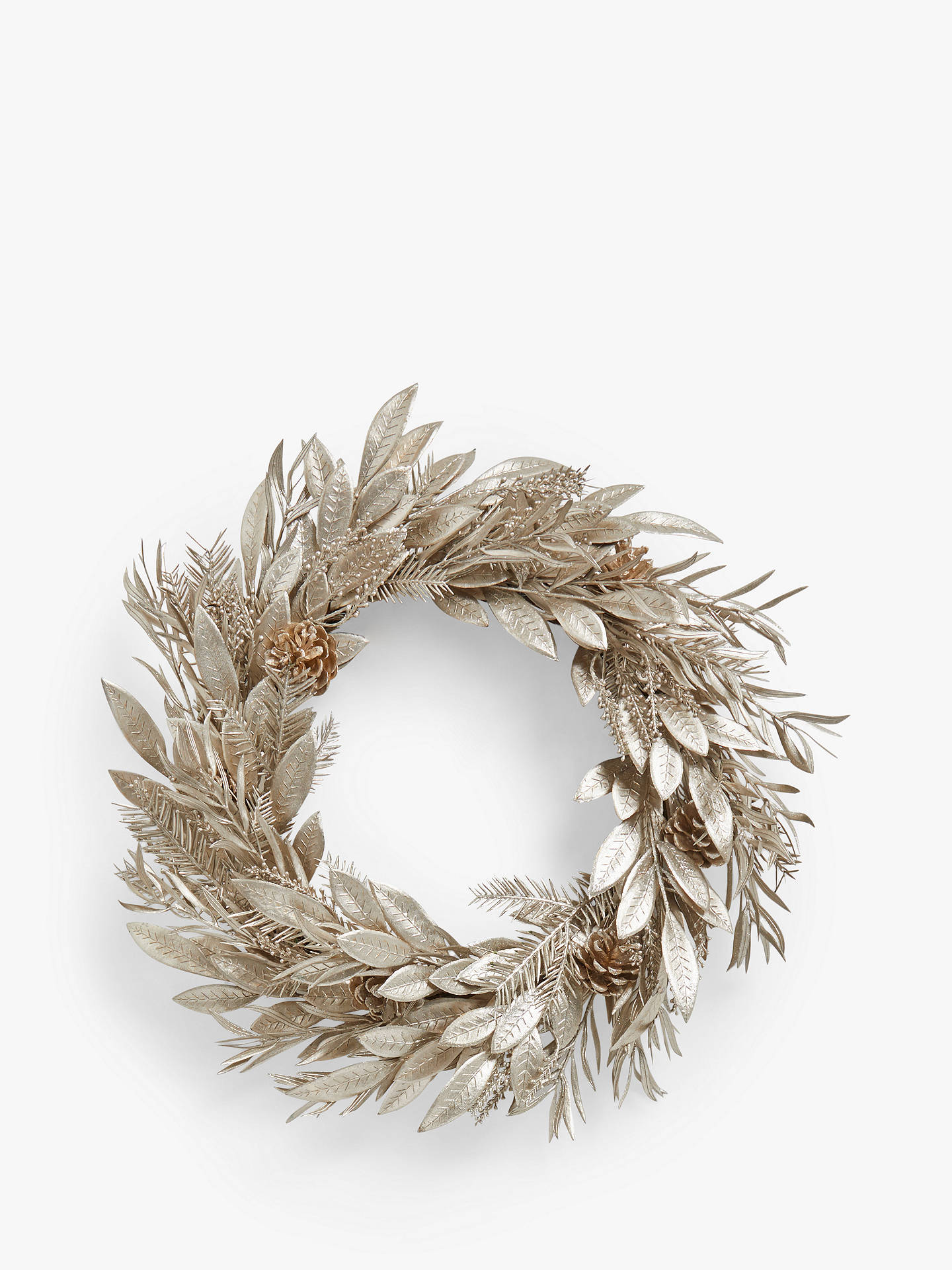 Buy John Lewis & Partners Impressionism Leaf & Cone Wreath, Silver Online at johnlewis.com