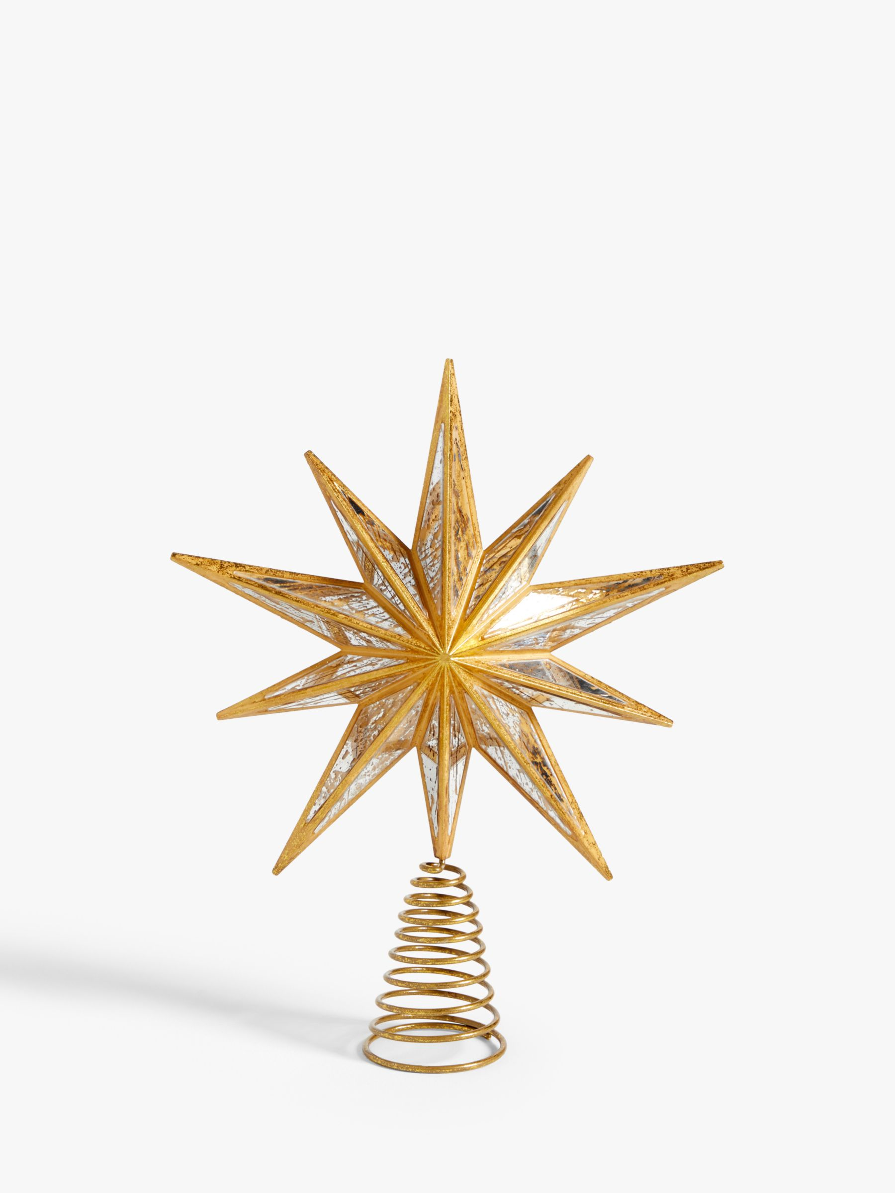 John Lewis & Partners Art Nouveau Star Mirror Tree Topper, Gold