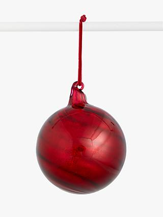 John Lewis & Partners Art of Japan Round Swirl Bauble, Red