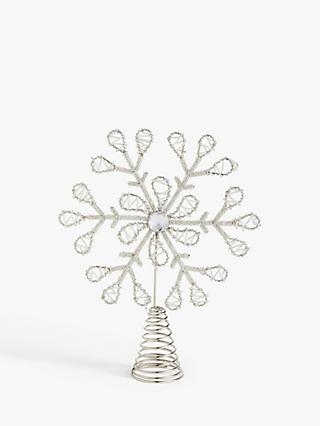 John Lewis & Partners Impressionism Snowflake Beaded Tree Topper, White