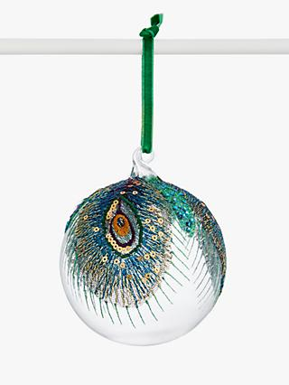 John Lewis & Partners Post Impressionism Embroidered Peacock Feather Bauble, Multi