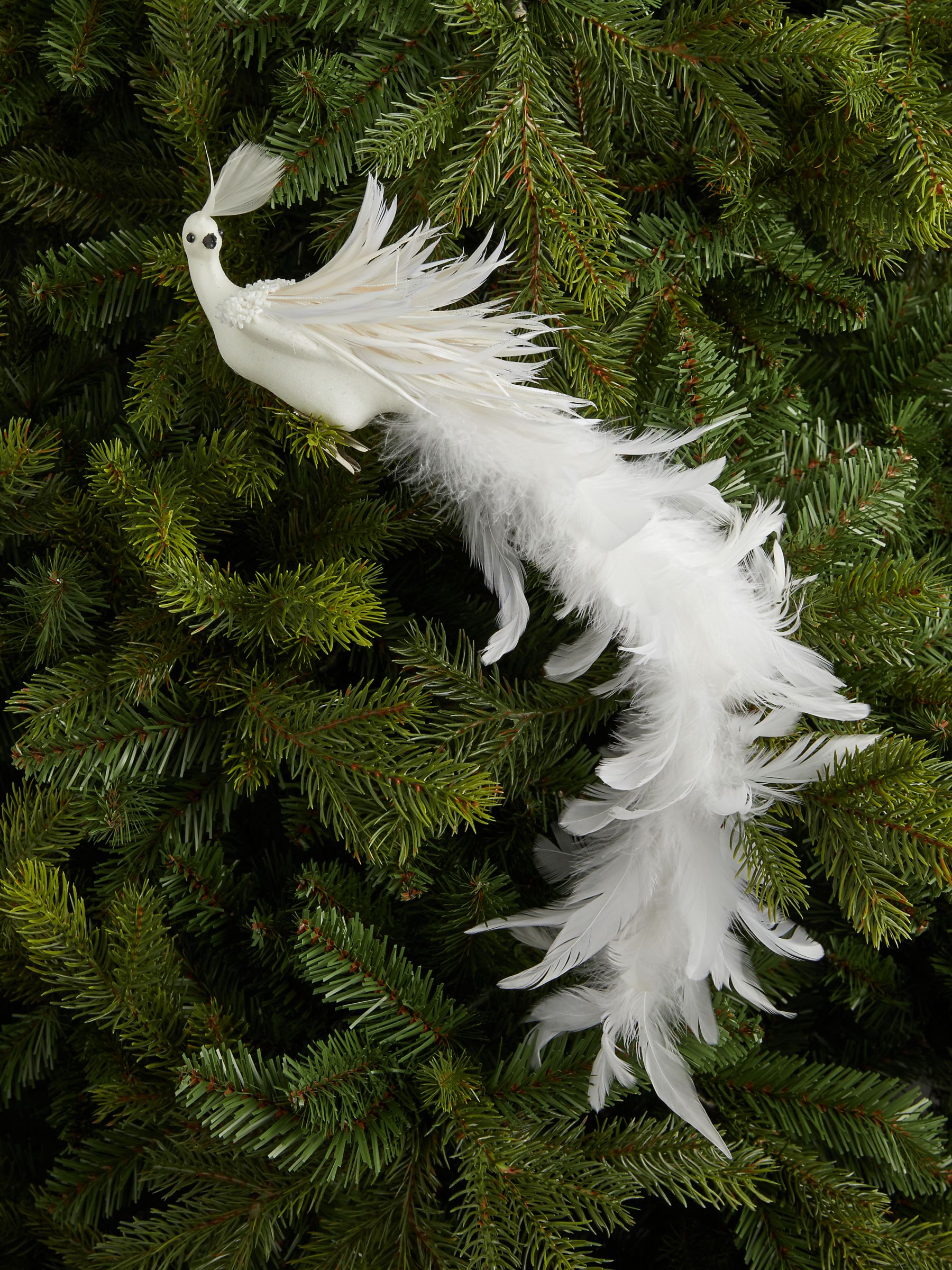 John Lewis & Partners Impressionism Peacock Clip On Tree Decoration, White