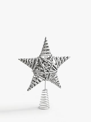 John Lewis & Partners Impressionism Willow Star Tree Topper, Silver
