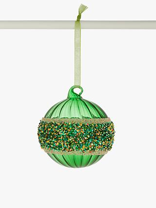 John Lewis & Partners Post Impressionism Bead Band Bauble, Green