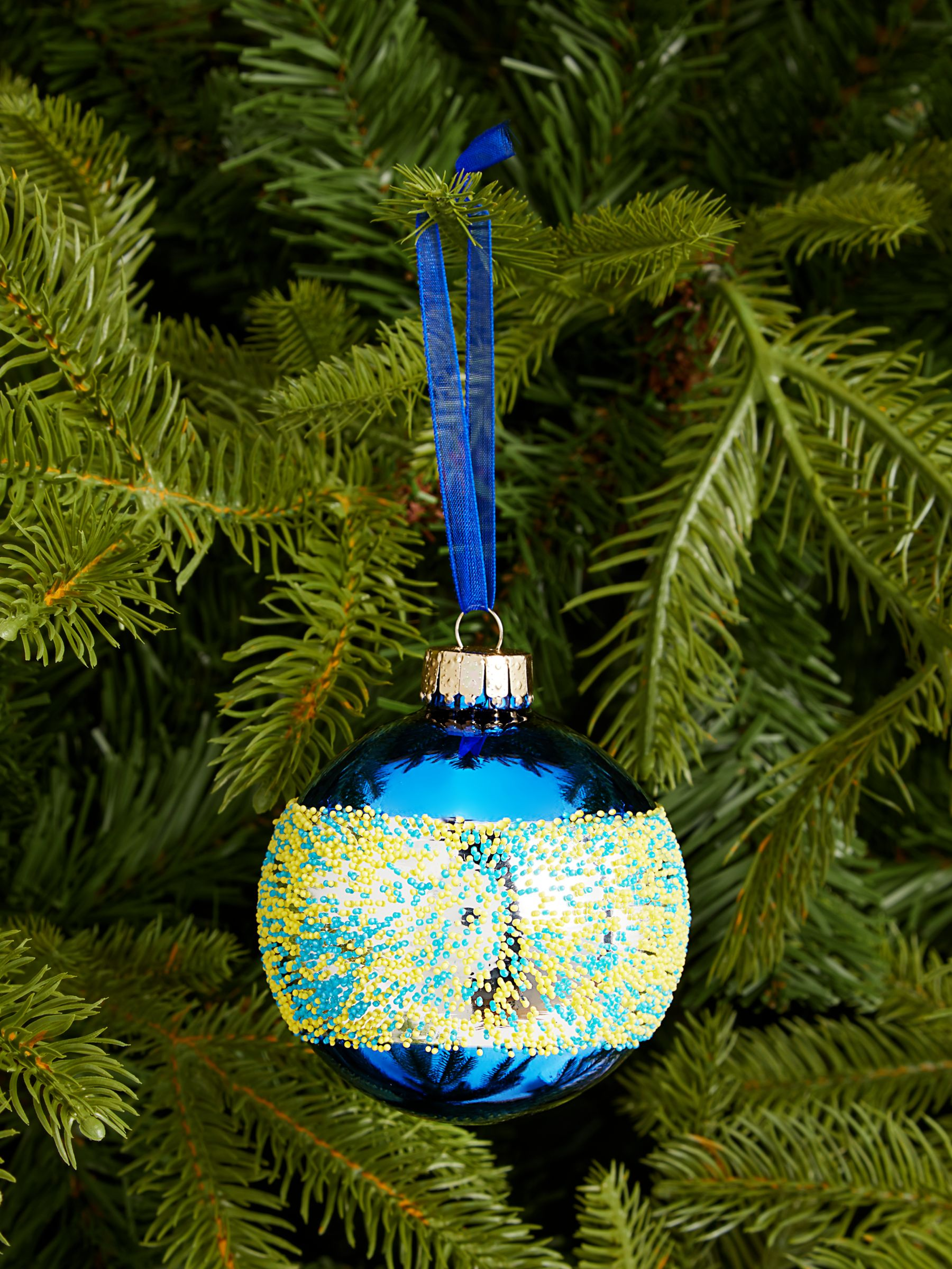 John Lewis & Partners Pop Art Bead Band Bauble, Blue / Yellow