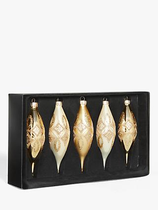 John Lewis & Partners Art Nouveau Assorted Finial Baubles, Box of 5, Gold