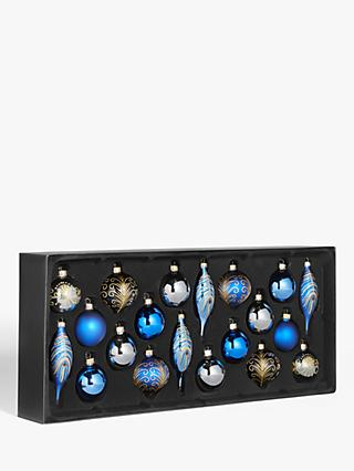 John Lewis & Partners Art Nouveau Assorted Decorated Baubles, Box of 20, Blue