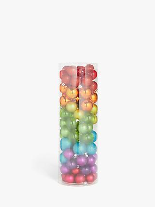 John Lewis & Partners Pop Art Rainbow Shatterproof Baubles, Tub of 100, Multi