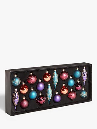 John Lewis & Partners Bloomsbury Assorted Decorated Baubles, Box of 20, Purple / Blue