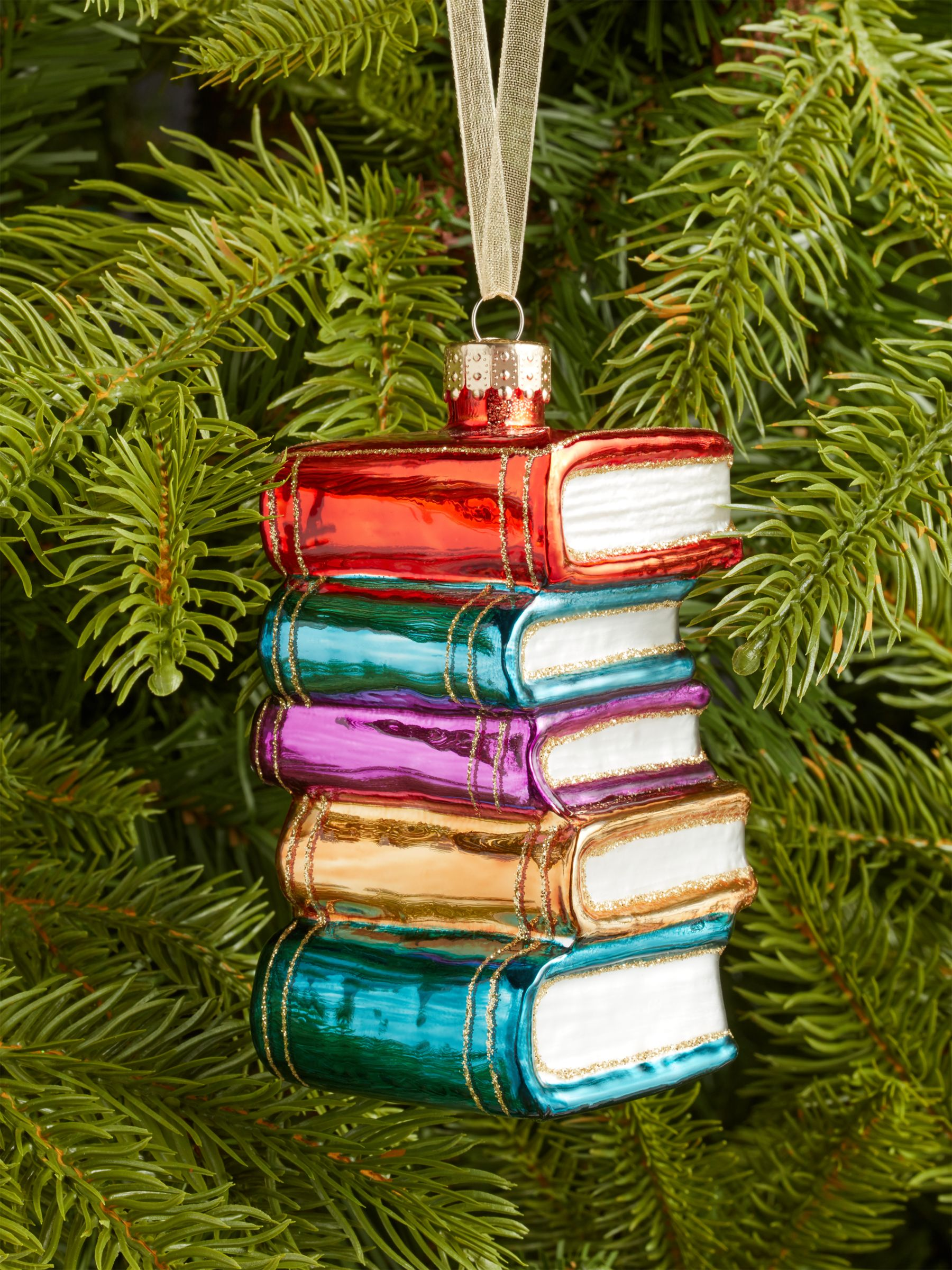 John Lewis & Partners Bloomsbury Stack of Books Bauble, Multi