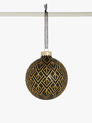 John Lewis & Partners Art Nouveau Glitter Stripe Bauble, Black / Gold