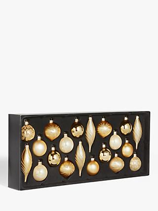 John Lewis & Partners Art Nouveau Assorted Decorated Baubles, Box of 20, Gold