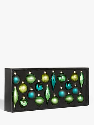John Lewis & Partners Post Impressionism Assorted Decorated Baubles, Box of 20, Green