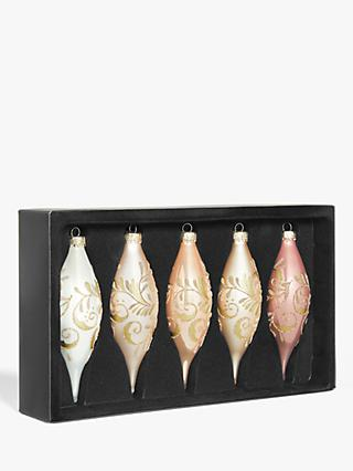 John Lewis & Partners Renaissance Assorted Finial Baubles, Box of 5, Blush
