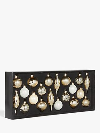 John Lewis & Partners Renaissance Assorted Decorated Baubles, Box of 20, Champagne