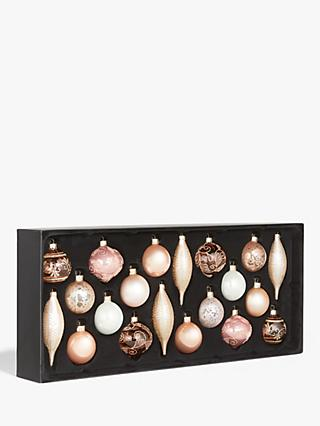 John Lewis & Partners Renaissance Assorted Decorated Baubles, Box of 20, Blush