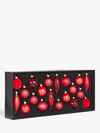 John Lewis & Partners Art of Japan Assorted Decorated Baubles, Box of 20, Red