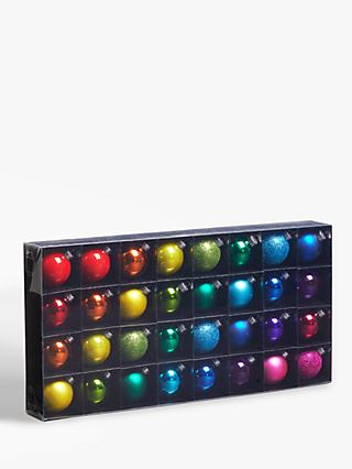 John Lewis & Partners Pop Art Assorted Rainbow Baubles, Tub of 32, Multi
