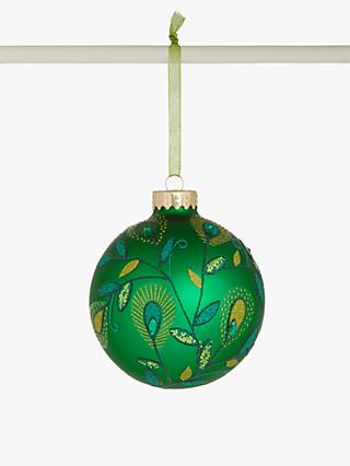 John Lewis & Partners Post Impressionism Peacock Glitter Bauble, Green