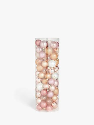 John Lewis & Partners Renaissance Assorted Shatterproof Baubles, Tub of 100, Blush