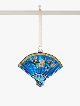 John Lewis & Partners Art Nouveau Gatsby Fan Bauble, Blue