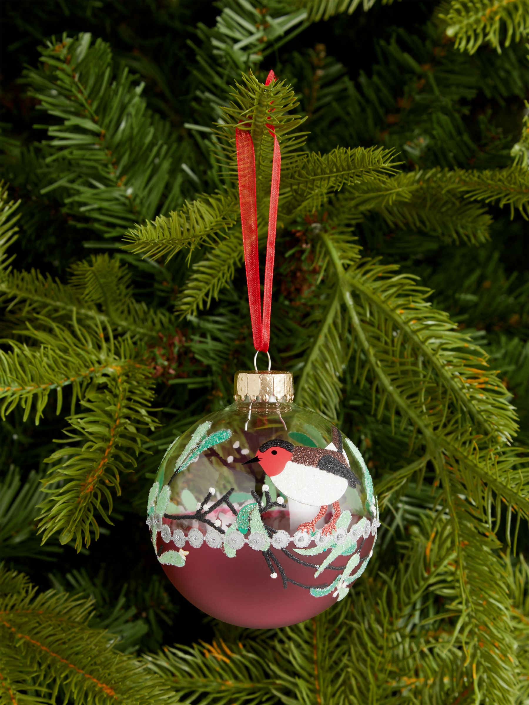 John Lewis & Partners Art of Japan Bird & Branch Bauble, Pink