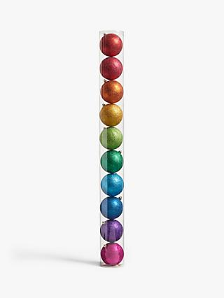 John Lewis & Partners Pop Art Rainbow Shatterproof Baubles, Tub of 10, Multi, Large