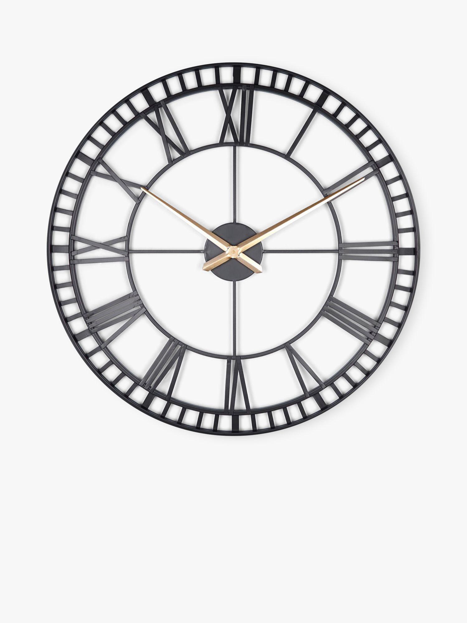 Lascelles Large Roman Numeral Skeleton Wall Clock 80cm Black Gold At John Lewis Partners