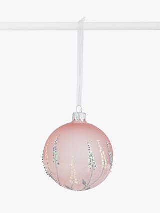John Lewis & Partners Renaissance Deco Dot Frosted Bauble, Blush