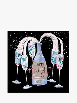 Woodmansterne Fizz & Glasses Happy New Year Card