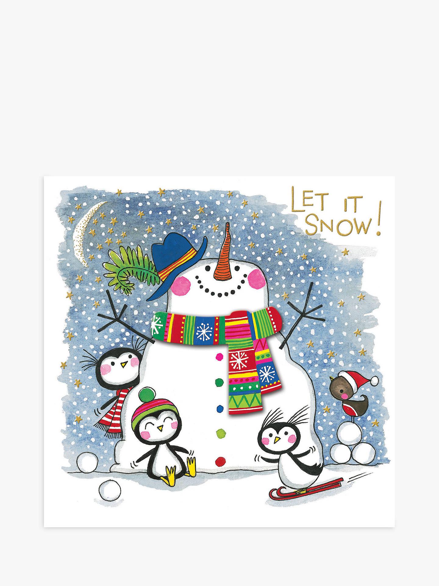 Rachel Ellen Snowman Scarf Christmas Card at John Lewis & Partners
