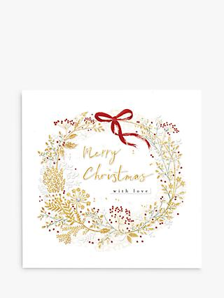 Woodmansterne Wreath & Bow Christmas Card