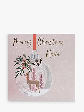 Belly Button Designs Deer Bauble Nana Christmas Card